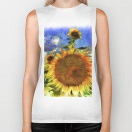 Sunflowers Vincent Van Goth Art Biker Tank
