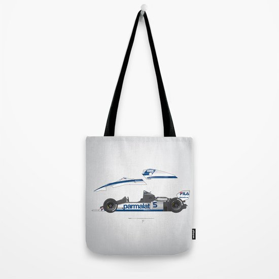 Outline Series N.º6, Nelson Piquet, Brabham BT-52 BMW, 1983 Tote Bag