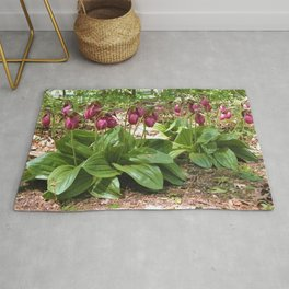 New England Wild Orchid Lady Slipper Flowers Rug