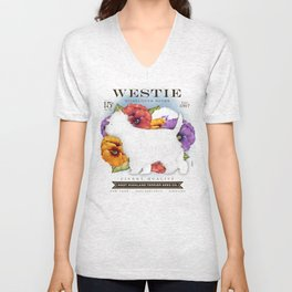 Westie West Highland Terrier seed company dog art illustration by Stephen Fowler Unisex V-Neck