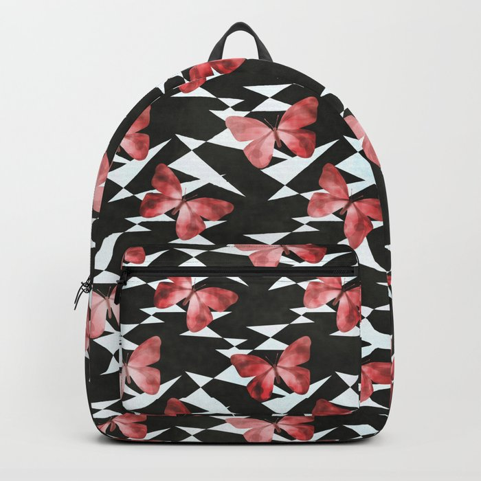 Pattern with red butterflies . Backpack