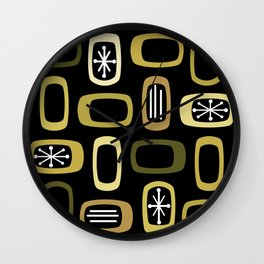 Midcentury MCM Rounded Rectangles Black Yellow Wall Clock
