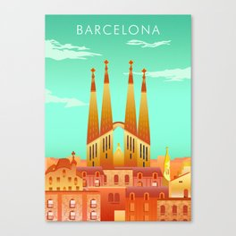 Barcelona Travel Poster Canvas Print