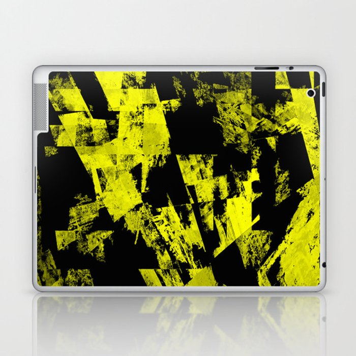 Fractured Warning - Black and yellow, abstract, textured painting Laptop & iPad Skin