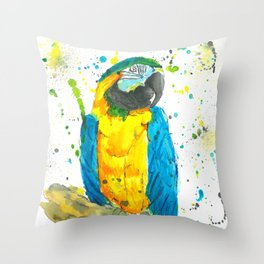 Blue & Gold Macaw - Watercolor Painting Throw Pillow
