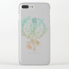 Desert Cactus Dreamcatcher Turquoise Coral Gradient Clear iPhone Case