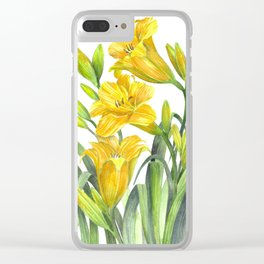 Yellow Day Lillies Clear iPhone Case
