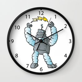 cartoon blue eletric robot Wall Clock