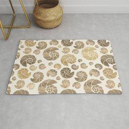 Sea shells pattern pastel gold Rug