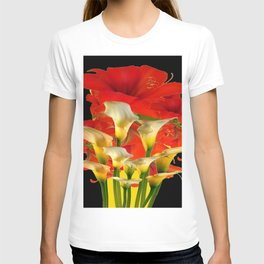 RED FLORALS & YELLOW CALLA LILIES BLACK ART T-shirt