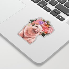 Baby Pig with Flowers Crown Sticker