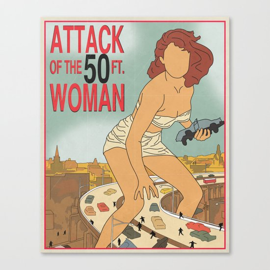 Attack of the 50 Foot Woman Vintage Movie Poster Canvas Print