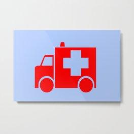 ambulance car illustration Metal Print