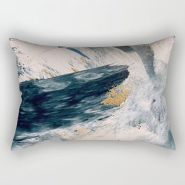 Harbor: a minimal, blue and gold abstract piece Rectangular Pillow