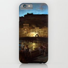 Fireworks in Naples by Oswald Achenbach iPhone Case