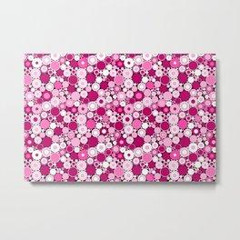 Abstract Pink and White Retro Radical Circle and Polka Dots Metal Print