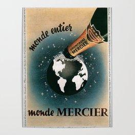 Vintage 1950 Monde Mercier Champagne Advertisement Poster