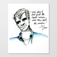 kerouac Canvas Prints featuring Ti Jean/ Jack Kerouac by Runk the Skunk