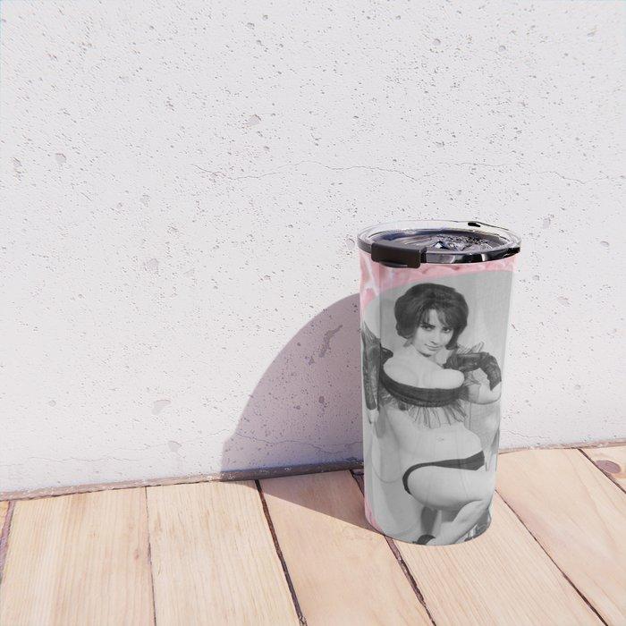 Femme Fatale - Pin Up - Pastel Pink Frame - Roses  Travel Mug