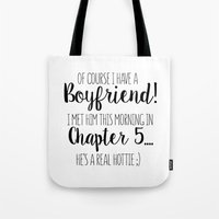 boyfriend Tote Bags featuring Book boyfriend by Mai~  A Curious Boutique