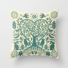 Rustic Early American Tree Of Life Woodcut Throw Pillow