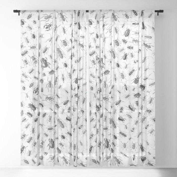 Beetlemania II B&W Sheer Curtain