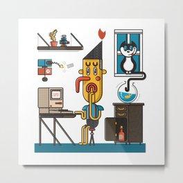 Man at Desk Metal Print