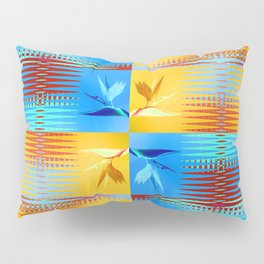 Birds of Paradise Retro Floral Blue and Gold Pillow Sham