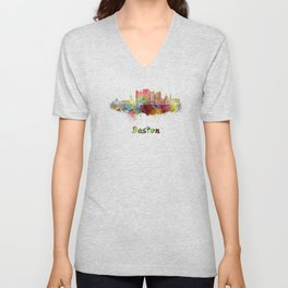 Boston skyline in watercolor Unisex V-Neck