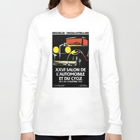 brussels Long Sleeve T-shirts featuring Vector art deco Brussels 1930s auto salon by aapshop