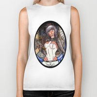 ghost in the shell Biker Tanks featuring Motoko Kusanagi from Ghost in the Shell by Jazmine Phillips
