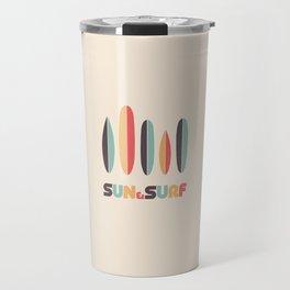 Retro Sun & Surf Surfboard Travel Mug