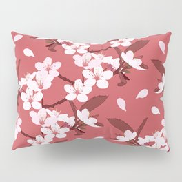 Sakura on red background Pillow Sham