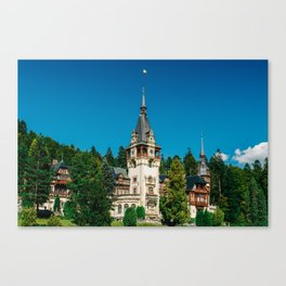 Peles Palace In Transylvania, Architecture Photography, Medieval Castle, Mountain Landscape, Romania Canvas Print