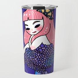 Purple Mermaid Holding Bracelet Travel Mug