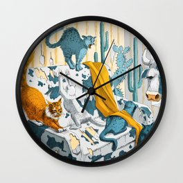 Crazy cats claw the cow's couch Wall Clock