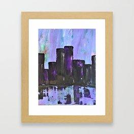 Purple City. Cyber Punk City. Jodilynpaintings Purple City Abstract Framed Art Print