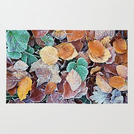 Icy Autumn Leaves Rug