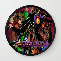 majoras mask Wall Clocks featuring Zelda Majora's mask by ezmaya