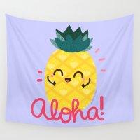 aloha Wall Tapestries featuring Aloha by Kleviee