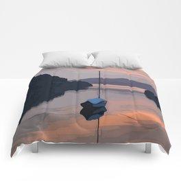 Boat At Bozburun At Sunset Vector Image Comforters