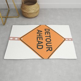 """""""Detour ahead"""" - 3d illustration of yellow roadsign isolated on white background Rug"""