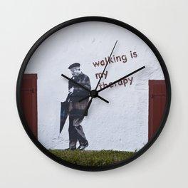 A Gentleman goes walking; Camino to Santiago de Compostela Wall Clock