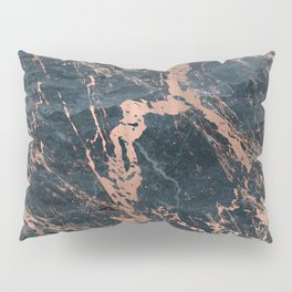 Blue & Rose Gold Marble Pillow Sham