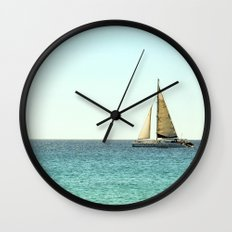 Sail Away with Me - Ocean, Sea, Blue Sky and Summer Sun Wall Clock