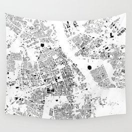 Warszawa Map Schwarzplan Only Buildings Wall Tapestry