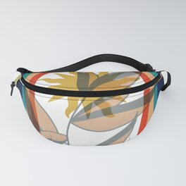 Abstract contemporary aesthetic poster with sun plant and geometric retro 70s rainbow boho wall art Fanny Pack