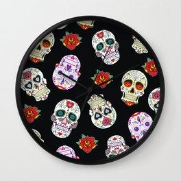 Sugar Skull Pattern Wall Clock