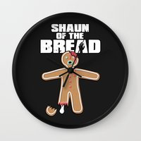 shaun of the dead Wall Clocks featuring Shaun Of The Dead (Shaun Of The Bread) by Creative Spectator