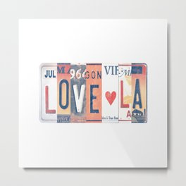 LOVE LA License Plate Art Metal Print